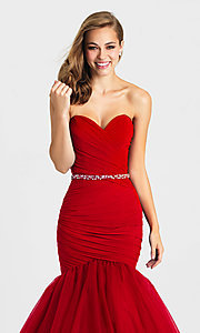 Image of Madison James strapless mermaid long prom dress. Style: NM-16-354 Detail Image 1