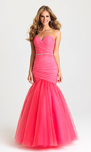 Madison James Strapless Mermaid Long Prom Dress