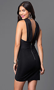 Image of short sleeveless dress with small slit Style: LUX-LD2035 Back Image
