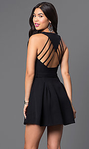Image of low v-neck short sleeveless dress with open back Style: LUX-LD2036 Back Image