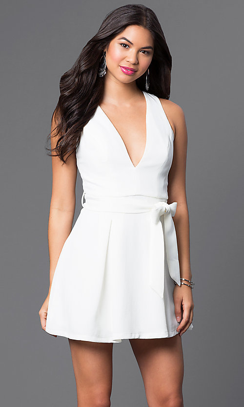 Image of low v-neck short sleeveless dress with open back Style: LUX-LD2036 Detail Image 3