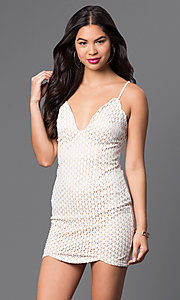 Image of short fitted lace spaghetti-strap dress. Style: LUX-LD2019 Detail Image 2
