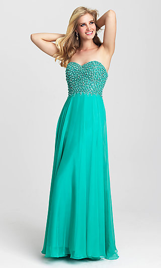Strapless Dress with Beaded Top by Madison James