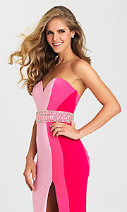 Image of multicolored striped strapless prom dress with beads. Style: NM-16-381 Detail Image 2