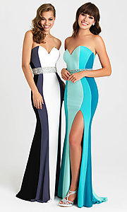 Image of multicolored striped strapless prom dress with beads. Style: NM-16-381 Front Image