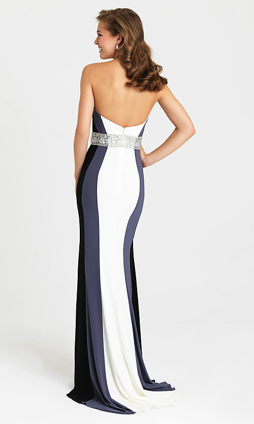 Image of multicolored striped strapless prom dress with beads. Style: NM-16-381 Back Image