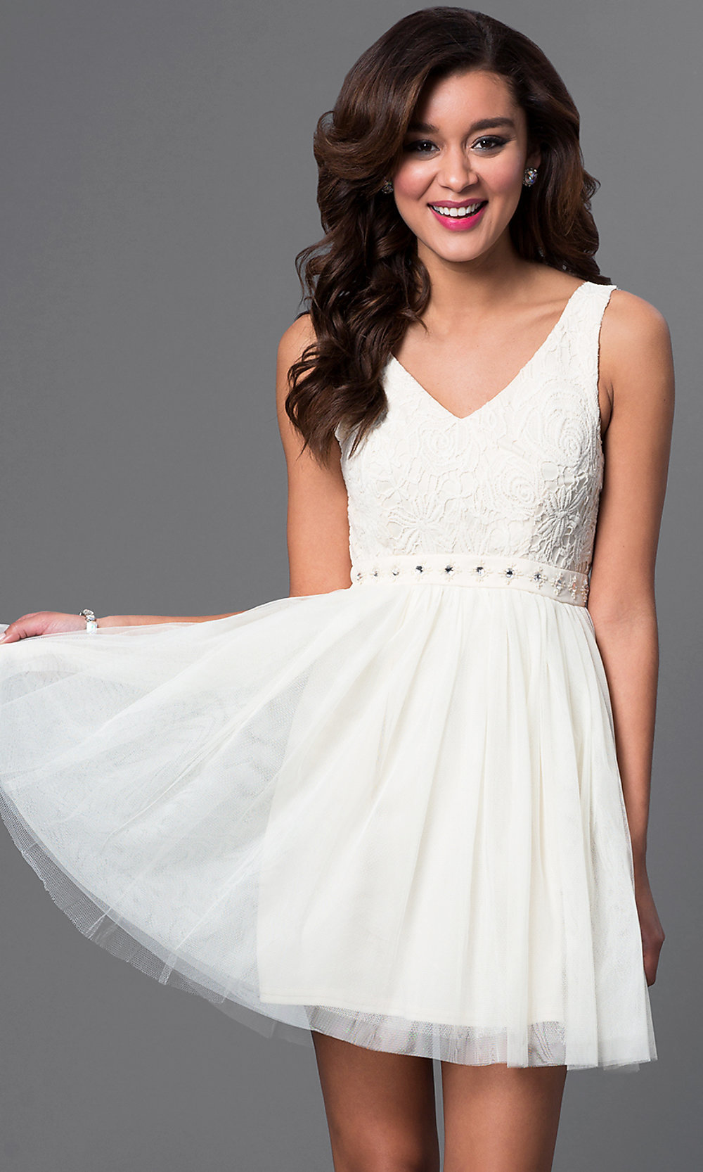 Lace-Top Short Dress with Open Back - PromGirl
