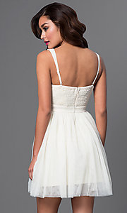 Image of short beige v-neck open-back sleeveless dress Style: LP-23005-b Back Image