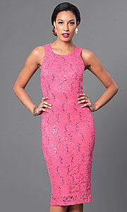 Sequined-Lace Sleeveless Knee-Length Dress