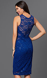 Image of sequined-lace sleeveless knee-length dress Style: MB-7060 Back Image