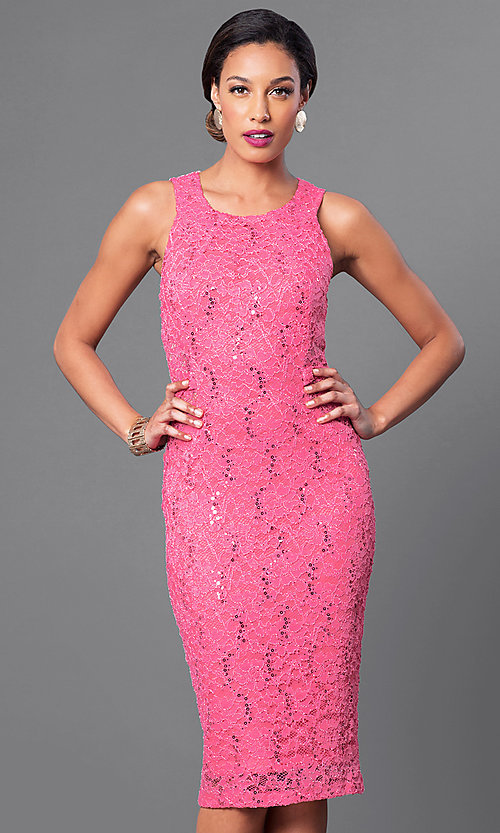 Image of sequined-lace sleeveless knee-length dress Style: MB-7060 Detail Image 3
