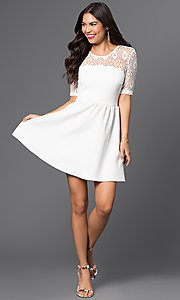 Image of short white dress with lace shoulder detail. Style: CT-7426AW8A Detail Image 1