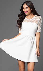 Image of short white dress with lace shoulder detail. Style: CT-7426AW8A Front Image