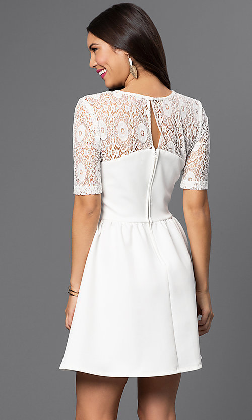 Image of short white dress with lace shoulder detail. Style: CT-7426AW8A Back Image