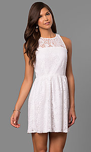 Semi-Casual Short A-Line Party Dress in Lace