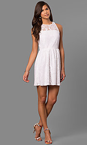 Image of semi-casual short a-line party dress in lace. Style: SS-JA83054HTM Detail Image 1