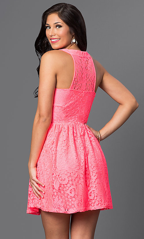 Image of semi-casual short a-line party dress in lace. Style: SS-JA83054HTM Back Image