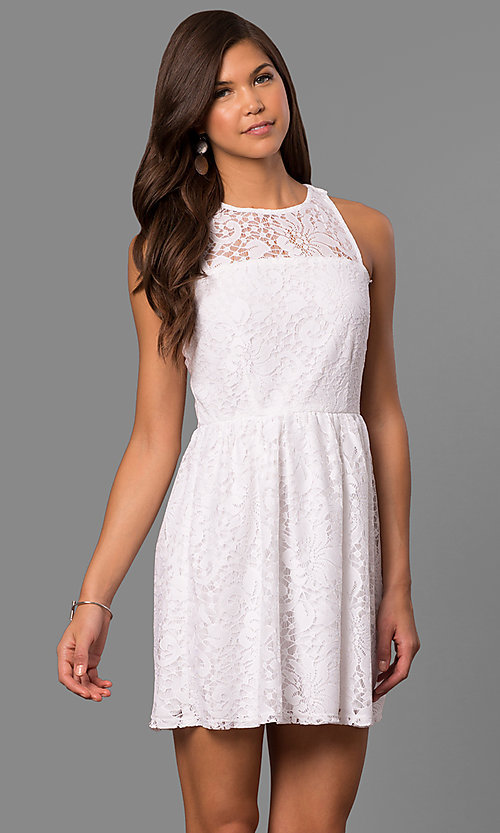 04df81173415 A-Line Short Sleeveless Lace Party Dress - PromGirl
