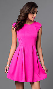 Short Cap Sleeve Tucked Waist Dress