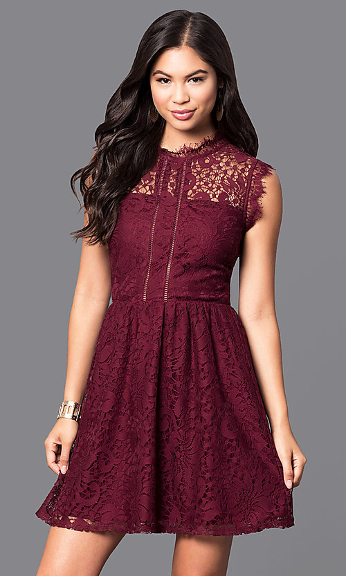 Image of lace high-neck sleeveless short homecoming dress. Style: SS-JA85631HTM Front Image