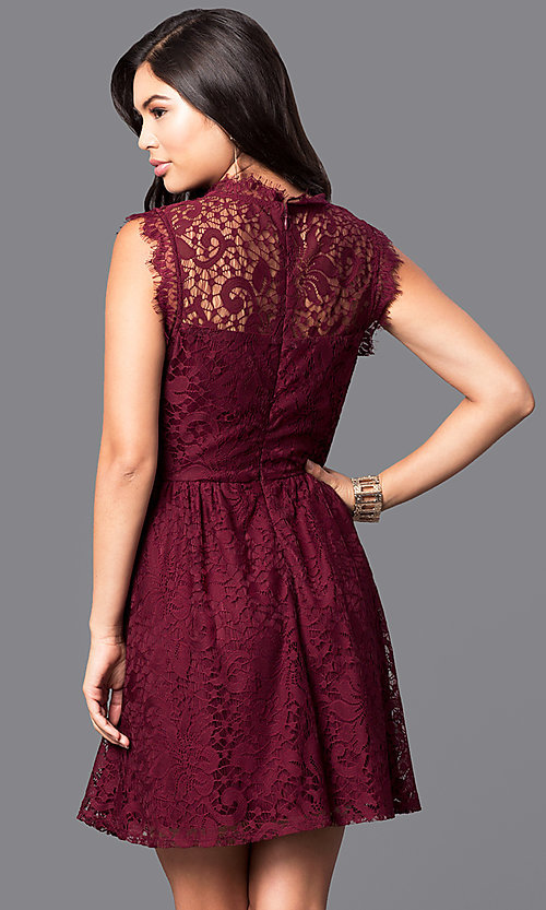 Image of lace high-neck sleeveless short homecoming dress. Style: SS-JA85631HTM Back Image