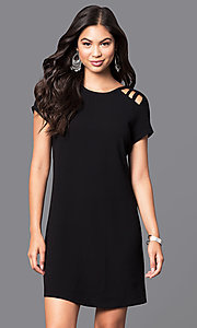 Image of short-sleeve short shift dress. Style: SS-JA85681GKW Detail Image 2