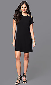 Image of short-sleeve short shift dress. Style: SS-JA85681GKW Detail Image 3