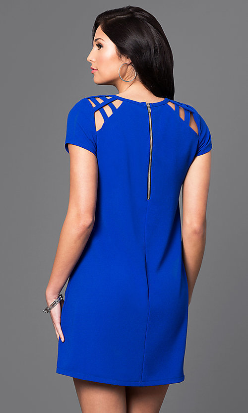 Image of short-sleeve short shift dress. Style: SS-JA85681GKW Back Image