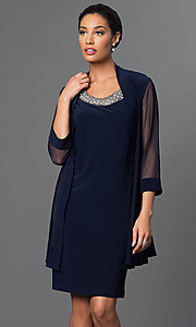 Navy Blue Knee-Length Dress with Jacket by Morgan