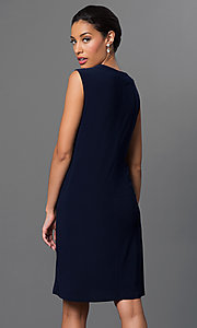 Image of navy blue knee-length dress with jacket by Morgan. Style: MO-8442 Back Image
