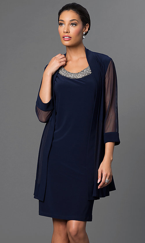 Image of navy blue knee-length dress with jacket by Morgan. Style: MO-8442 Front Image