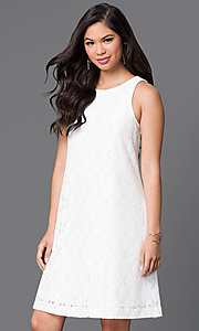 Short Lace Sleeveless Shift Dress