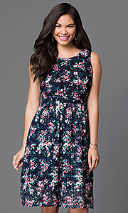 Short Floral Print Lace Sleeveless Dress