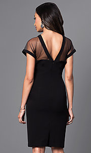 Image of knee-length short-sleeve sheer-neck party dress. Style: SD-S275770 Back Image
