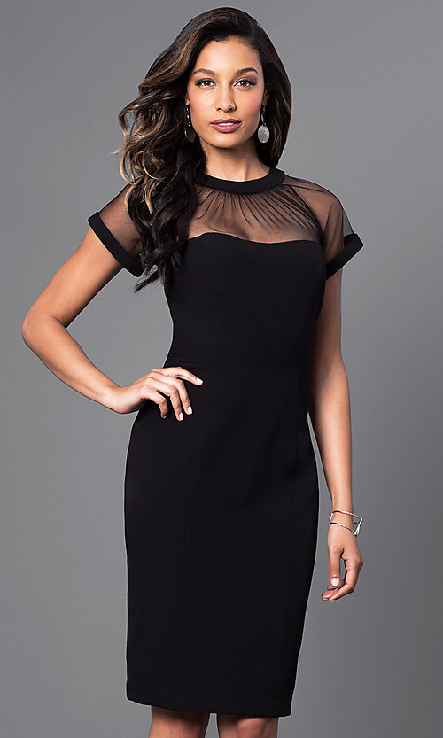 Image of knee-length short-sleeve sheer-neck party dress. Style: SD-S275770 Front Image