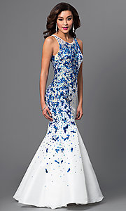 Image of long sleeveless mermaid sequined dress Style: DQ-9501 Detail Image 1