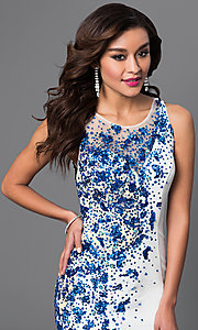 Image of long sleeveless mermaid sequined dress Style: DQ-9501 Detail Image 2