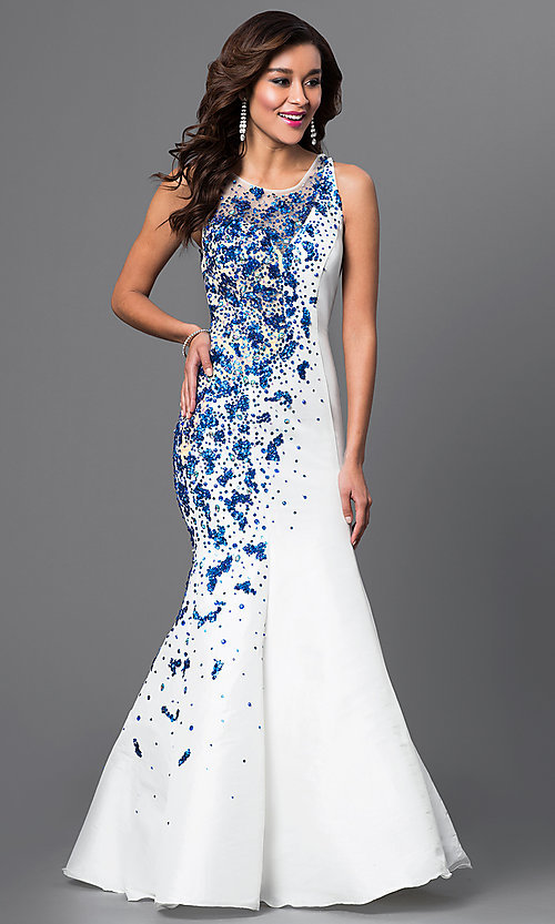 Image of long sleeveless mermaid sequined dress Style: DQ-9501 Front Image