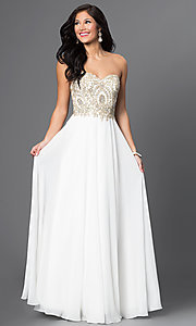 Sweetheart Chiffon Prom Dress with Beaded Bodice