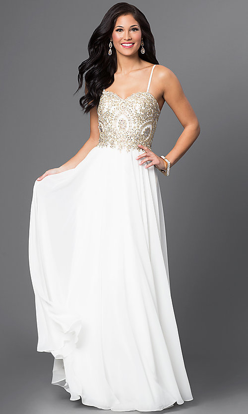 Image of long sweetheart chiffon dress with beaded bodice Style: DQ-9502 Detail Image 1