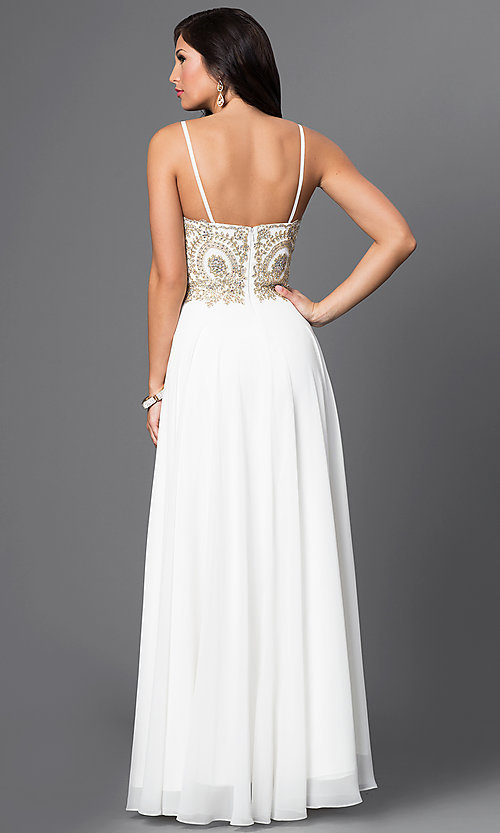 Image of long sweetheart chiffon dress with beaded bodice Style: DQ-9502 Back Image
