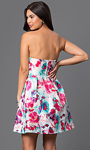 Image of short strapless floral-print dress  Style: BD-X3yje268 Back Image