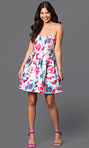 Image of short strapless floral-print dress  Style: BD-X3yje268 Detail Image 1