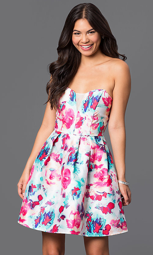 Image of short strapless floral-print dress  Style: BD-X3yje268 Front Image