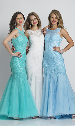 Dave and Johnny Long Lace Mermaid Prom Dress