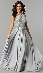 Beaded-Bodice Long Dave & Johnny Chiffon Prom Dress
