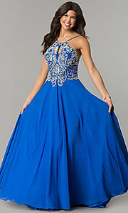 Image of beaded-bodice long Dave & Johnny chiffon prom dress. Style: DJ-2143 Front Image