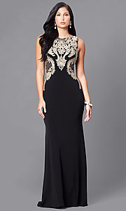 Long Black Illusion Prom Dress with Gold Lace Applique