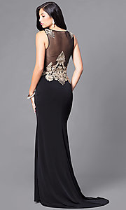 Image of long black illusion prom dress with gold lace applique.  Style: DJ-2687 Back Image