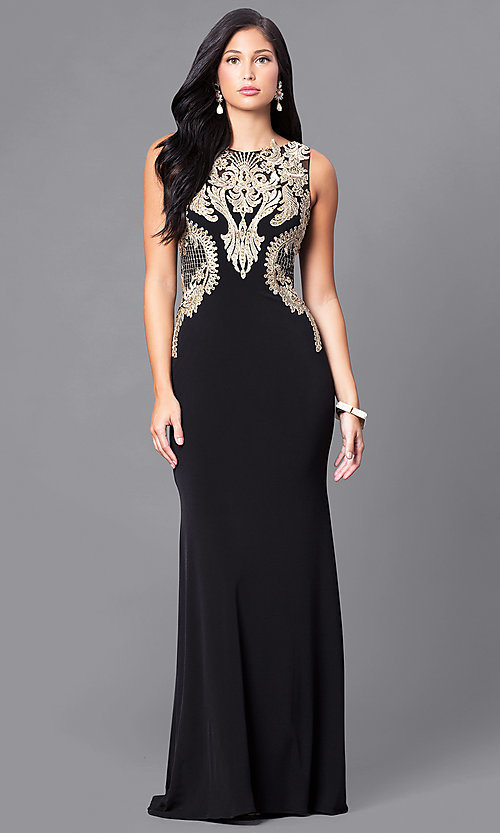 Image of long black illusion prom dress with gold lace applique.  Style: DJ-2687 Front Image